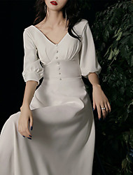 cheap -A-Line Wedding Dresses V Neck Ankle Length Stretch Fabric Half Sleeve Simple with Buttons 2021