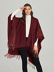 cheap -Factory Direct Sales Of New Autumn And Winter Shawls Female Fringe Stripe Fashion To Increase Warmth Split Cape For Cross-Border Supply 135*175cm