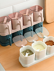 cheap -Nordic Spice Box Jar Seasoning Box Storage with Spoons 4 Grids Combination Condiment Container Plastic Transparent Sugar Salt Box Cans Pepper Bottle Kitchen Cooking