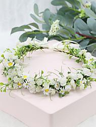 cheap -Wreath Headdress Handmade Daisy Gypsophila Rattan Corolla Wedding Flower Girl Bridesmaid Photo Hair Accessories Female