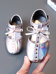 cheap -Girls' Flats Flower Girl Shoes Leather PU Cute Casual / Daily Dress Shoes Toddler(9m-4ys) Little Kids(4-7ys) Party & Evening Walking Shoes Rivet Pink Black Fall Spring
