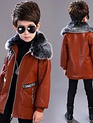 cheap -Kids Boys' Jacket Yellow Black Brown Patchwork Solid Color Cotton Cool 2-12 Years