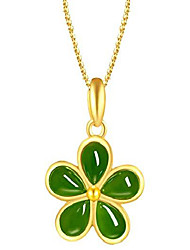 cheap -women's fashion 18k gold inlaid natural jade plum blossom-shaped pendant necklace healing chakra jewelry gift for teens birthday gift