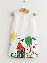 cheap -bear leader girls dresses brand spring princess dress kids clothes graffiti print design for baby 3-8y 210810