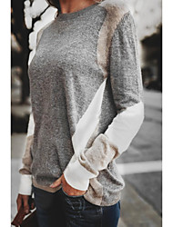 cheap -Women's Pullover Sweater Knitted Patchwork Color Block Casual Long Sleeve Sweater Cardigans Crew Neck Fall Winter Grey khaki Beige