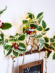cheap -2M 20Leds Red Berry Christmas Garland Hand-made String Lights LED Copper Fairy Lights Ivy Leaf String Lights For Xmas Holiday Tree Home Decoration Lighting AA Battery Power