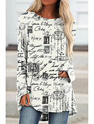 cheap -Women's Abstract Painting T shirt Graphic Text Long Sleeve Print Round Neck Basic Vintage Tops Regular Fit White / 3D Print