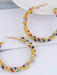 cheap -Women's Hoop Earrings Earrings Beads Twist Circle Colorful European Boho Resin Earrings Jewelry Silver / Gold For Daily Club Bar 1 Pair