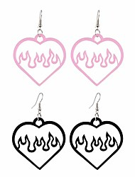 cheap -2 pairs flame heart dangle earrings set acrylic hollow love heart shape earrings for women girls jewelry