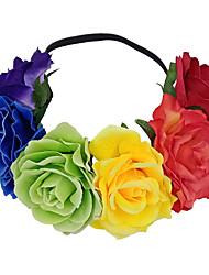 cheap -6-color Rainbow Wreath Headband Amazon 11CM Fabric Simulation Flower Hair Accessories Bridal Headwear