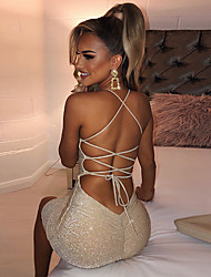 cheap -Women's Party Dress Midi Dress Champagne Gold Sleeveless Solid Color Backless Fall Spring cold shoulder Casual Party 2021 S M L XL XXL