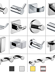 cheap -Multifunction Robe Hook, Modern Style, 304 Stainless Steel, 4-Finish Black, Chrome, Brushed, Gold- for Bathroom and Bedroom Wall Mounted
