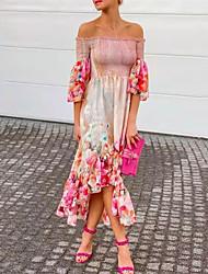cheap -Women's A Line Dress Maxi long Dress Blushing Pink Half Sleeve Floral Ruffle Plus High Low Print Fall Off Shoulder Elegant Casual Sexy Flare Cuff Sleeve 2021 S M L XL