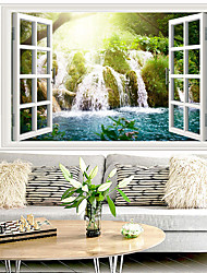 cheap -Waterfall Landscape Wall Stickers Bedroom Living Room Removable Pre-pasted PVC Home Decoration Wall Decal 1pc