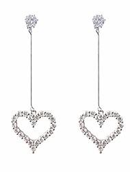 cheap -boho female crystal white heart drop earrings fashion silver color zircon stone earrings small hanging dangle earrings for women (crystal white heart drop earrings-silver)