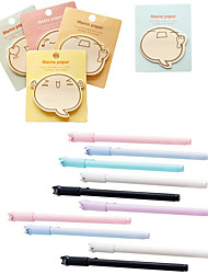 cheap -10pcs Repeatedly Posted Memo Pad Post Notes Message and 10pcs  Cat Gel Pen 0.38mm Ink Pen