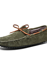cheap -Men's Boat Shoes Comfort Loafers Crib Shoes Drive Shoes Casual Daily Suede Warm Non-slipping Wear Proof Green Black Brown Fall Winter