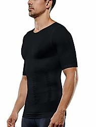 cheap -men's compression shirt short sleeve tank top body shaper slimming t-shirt athletic sports base layer top running shaperwear (black, xl)