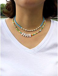 cheap -Women's Beaded Necklace Necklace Beads Colorful Fashion Holiday Sweet Imitation Pearl Glass Alloy Rainbow 40 cm Necklace Jewelry 1pc For Gift Prom Birthday Party Beach Festival