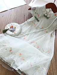 cheap -[3y-11y]girls sweet lace mesh flower embroidery dress with bag - 3347