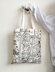 cheap -Canvas Shoulder storage bag back to school Halloween goody bag white  black sketch portable grocery shopping cloth book tote   34*39 cm