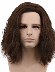 cheap -halloweencostumes Captain America Wig Men Fluffy Short Curly Brown Wig Halloween Cosplay Wig Anime Costume Wig