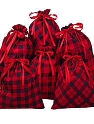 cheap -Foreign Trade Christmas Bag Big Red Plaid Cotton Bundle Bag Christmas Gift Bag  25*30cm