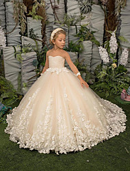 cheap -A-Line Floor Length Flower Girl Dresses Party Chiffon Long Sleeve Jewel Neck with Appliques