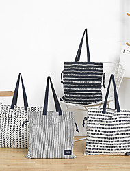 cheap -Canvas Shoulder storage bag back to school Halloween goody bag grid white black portable grocery shopping cloth book tote