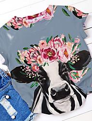 cheap -Women's T shirt Floral Flower Animal Print Round Neck Basic Tops Blue Light Green