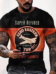 cheap -Men's Unisex Tee T shirt Shirt 3D Print Graphic Prints Airplane Print Short Sleeve Daily Tops Casual Designer Big and Tall Black