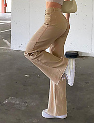 cheap -Women's Basic Fashion Comfort Pants Cotton Casual Daily Pants Plain Full Length Wide Leg Pocket Khaki