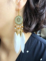 cheap -Women's Earrings Tassel Fringe Elegant Fashion Vintage European Boho Feather Earrings Jewelry Rainbow color / Blushing Pink / White For Party Evening Street Date Birthday Festival