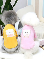 cheap -Dog Cat Sweatshirt Solid Colored Animal Adorable Cute Dailywear Casual / Daily Winter Dog Clothes Puppy Clothes Dog Outfits Warm Yellow Pink Costume for Girl and Boy Dog Plush S M L XL XXL