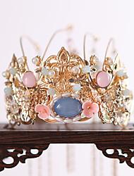 cheap -Antique Headdress Tassel Hair Crown Alloy Flower Chinese Ancient Costume Phoenix Crown Atmosphere Ancient Costume Hanfu Hair Crown