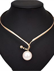 cheap -Women's Pearl Pendant Necklace Classic Flower Fashion Alloy Silver Gold 45 cm Necklace Jewelry 1pc For