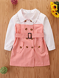 cheap -Toddler Little Girls' Dress Color Block Casual Blushing Pink Green Black Cotton Knee-length Long Sleeve Basic Dresses Children's Day Summer
