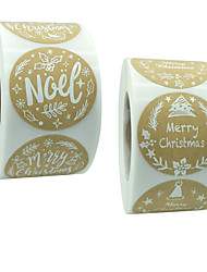 cheap -Christmas Roll Wrap Brown Paper Christmas White Font Holiday Decoration Sticker Label