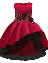 cheap -Kids Little Girls' Dress Solid Colored A Line Dress Party Wedding Evening Party Ruched Lace Red Midi Sleeveless Princess Cute Dresses Fall Regular Fit 3-10 Years