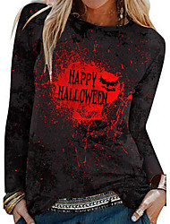 cheap -Women's Halloween Abstract Painting T shirt Tie Dye Text Long Sleeve Print Round Neck Basic Halloween Tops Yellow Red / 3D Print
