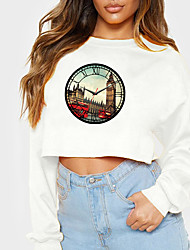 cheap -Women's Sweatshirt Crop Top Graphic Clock Crop Top Print Casual Sports Hot Stamping Cotton Active Streetwear Hoodies Sweatshirts  Yellow Gray White