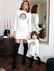 cheap -Dresses Mommy and Me Rainbow Leopard Letter Daily Print White Long Sleeve Above Knee Daily Matching Outfits / Fall / Winter / Cute