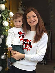 cheap -Christmas Tops Family Look Heart Bear Letter Daily Print White Daily Matching Outfits
