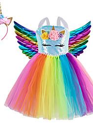 cheap -Princess Fairytale Unicorn Dress Cosplay Costume Party Costume Girls' Movie Cosplay Cosplay Tutus Light Purple Blue Pink Dress Wings Headwear Christmas Halloween Children's Day Polyester