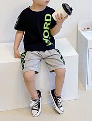 cheap -Kid's Boys' T-shirt & Shorts 2 Pieces Short Sleeve MXY06711 white+MXK06692 black MXY06711 black + MXK06692 gray Texture Cotton Chic & Modern