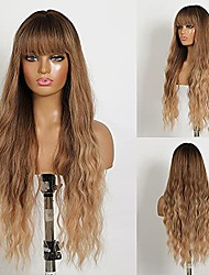 cheap -blonde wig with bangs long wavy wigs for women ombre blonde wigs natural hair wigs machine made 26 inches heat resistant fiber synthetic wigs for daily party use