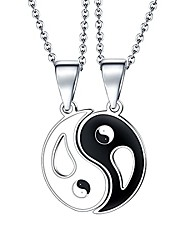 cheap -yin yang pendant necklace for men women, couple necklaces stainless steel friendship necklaces 24'' chain bff lover mother daugther gifts