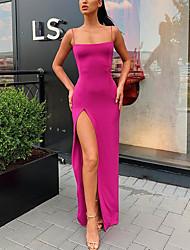 cheap -Sheath / Column Minimalist Sexy Party Wear Formal Evening Dress Spaghetti Strap Sleeveless Floor Length Satin with Split 2021