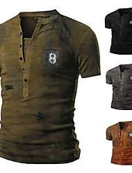 cheap -Men's Tee T shirt Shirt Rendering Short Sleeve Casual Tops Lightweight Fashion Classic V Neck Gray Khaki Green / Summer