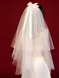 cheap -Two-tier Casual / Daily / Candy Wedding Veil Blusher Veils / Shoulder Veils with Satin Bow / Solid / Splicing Tulle